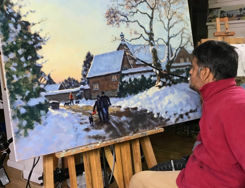 Battling surreal light conditions outside caused by Ophelia to work on Finmere snow scene in the studio