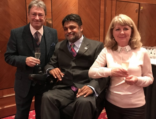 In London to present prizes at the Mouth & Foot Painting Artists 'Unique Art Awards' for children with disabilities with Alan Titchmarsh and Cindy Jansz